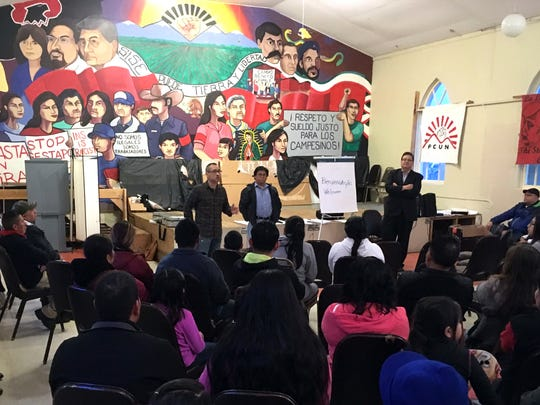 In this March 1, 2017, photo, residents of the predominantly Latino town of Woodburn meet to talk about increased detentions by federal immigration agents.