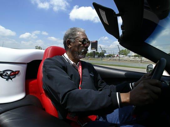 Pace-car driver Morgan Freeman takes a practice lap