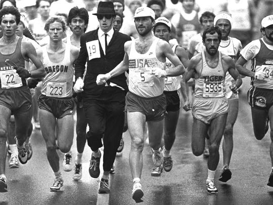 Tom Fleming (5) running in the Boston Marathon on April 17, 1984.