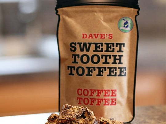 Dave's Sweet Tooth now sells toffee in 4 ounce jar-shaped