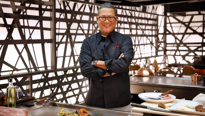 Morimoto Las Vegas is a teppanyaki-style restaurant, so the food is prepared on an iron griddle in front of guests at the table.
