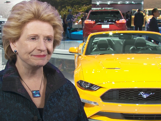 Sen. Debbie Stabenow at the Ford display at the 2018