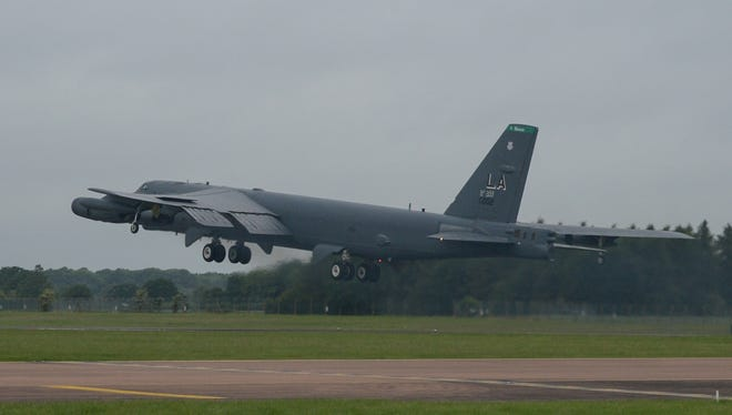 A B-52 aircraft from Minot Air Force Base, North Dakota will do a flyover at the University of Providence in Great Falls.