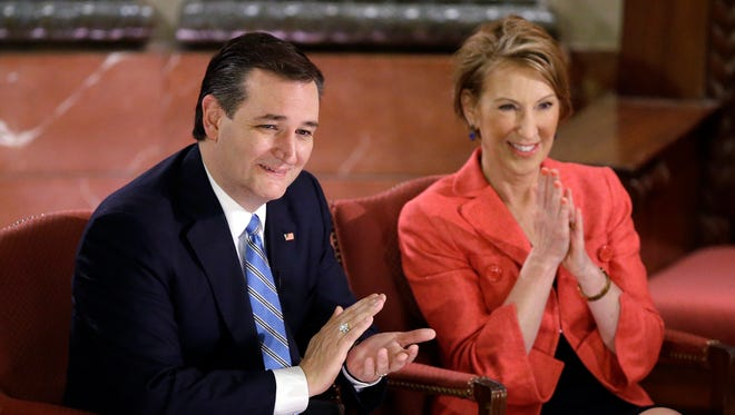 Republican presidential candidate, Sen. Ted Cruz, R-Texas, and his vice-presidential candidate Carly Fiorina at a Fox News event April 29, 2016, in Indianapolis.