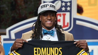 Terrell Edmunds is the No. 28 pick for the Pittsburgh Steelers in the first round of the 2018 NFL draft at AT&T Stadium.
