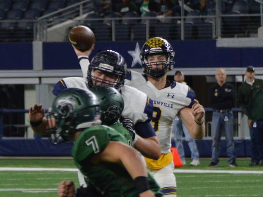 Stephenville's Easton Jones throws a pass with Kennedale's
