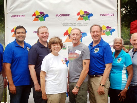 Union County Freeholder Chairman Bruce H. Bergen, Vice Chairman Sergio Granados and Freeholders Bette Jane Kowalski, Christopher Hudak and Vernell Wright joined Rahway Mayor Samson Steinman, Kenilworth Councilman Peter Corvelli and Chris Scherm of the Human Rights Campaign at the Union County PRIDE CommUNITY Picnic, celebrating marriage equality in New Jersey at Rahway River Park in Rahway.