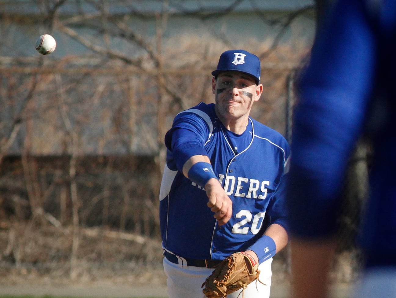 Horseheads' Josh Stowell throws to first baseman Austin Ross on Wednesday against Binghamton. Stowell homered in Horseheads' 11-3 win.