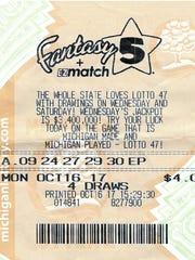 A Macomb County woman's winning Fantasy 5 ticket.