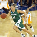 Michigan State's Kristin Haynie plays against Tennessee in the 2005 NCAA Division I Women's Basketball Final Four Championships at the RCA Dome in Indianapolis.