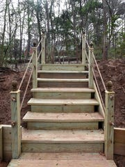 Backyard steps built by Fleming Landscaping at a south