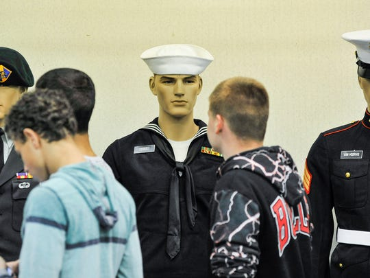 Harding High School students study mannequins wearing