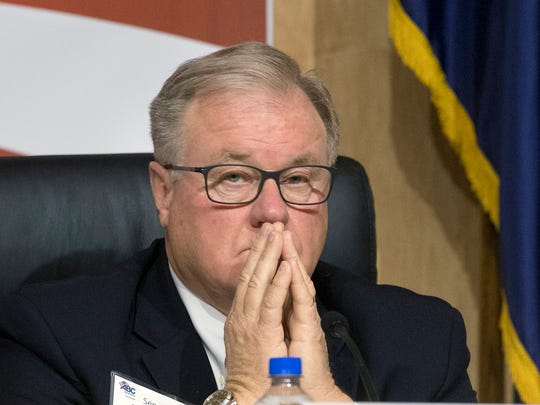 Sen. Scott Wagner thinks about a question while hearing