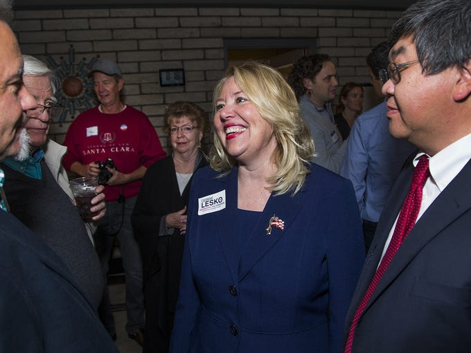 Debbie Lesko chats with supporters Stacey Meier (left)