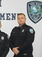 Thomas Waters (far right) was sworn in as a police officer with the Vero Beach Polcie Department on Dec. 5 by Police Chief David Currey (second from left), along with Laura Smith and Noah Clawson (left to right).