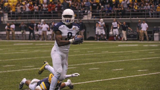 Northern Arizona receiver Emmanuel Butler scored four touchdowns in NAU's 63-21 win over Northern Colorado on Oct. 31 last season.