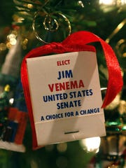 A matchbook from her husband's Senate campaign is now a Christmas ornament on Janice Venema's memory tree.