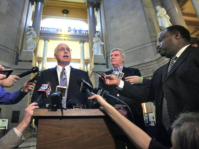 "Sen. Mike Delph, R-Carmel, called the news media to a news conference in the Indiana Statehouse Rotunda on Monday, February 17, 2014 to say that he wants to see HJR-3 called back for second reading and the controversial second sentence about civil unions reinserted, or else he will vote ""no"" on the measure on third reading, which is on the Senate's calendar Monday. Curt Smith, president of the Indiana Family Institute, stands next to him. Last week, the Senate declined to amend HJR-3 on second reading to reinsert the sentence."