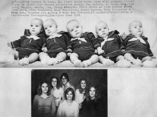 The birth of the Fischer quintuplets in Aberdeen on Sept. 14, 1963, was the subject of national notice.
