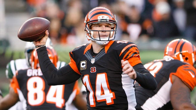 In the last three weeks, Bengals QB Andy Dalton has thrown for 1,034 yards and 11 TDs, including a career-high five in Sunday's rout of the Jets.