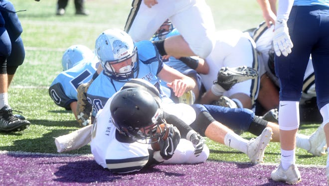 Buffalo Gap's Carter Rivenburg scores one of his five touchdowns Saturday afternoon in the Bison's win over Page County at James Madison University.