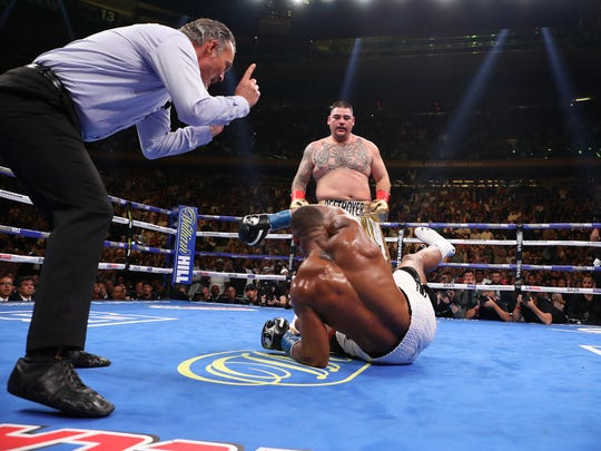 """""""The Mexican Rocky"""" Andy Ruiz Jr. was a massive underdog to champion Anthony Joshua. Mattered not as Ruiz dropped the champ four times en route to stopping him in the seventh round of their heavyweight championship bout. The third round was arguably the round of the year. (Photo by Al Bello/Getty Images)"""