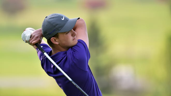 Hagerstown's Carson Orr follows his shot while playing in the annual Bob Van Pelt/Justin Cross golf invitational Saturday, April 15, 2017 at Elks Country Club