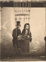 Nadar with his wife, Ernestine, are pictured in a balloon, c. 1865 (printed 1890s).