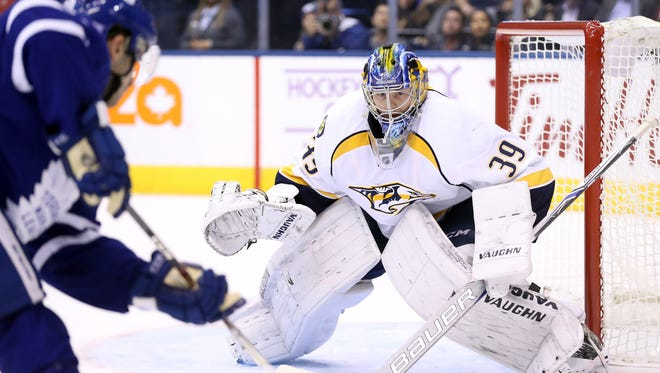 Predators goaltender Marek Mazanec allowed six goals against the Toronto Maple Leafs on Tuesday.