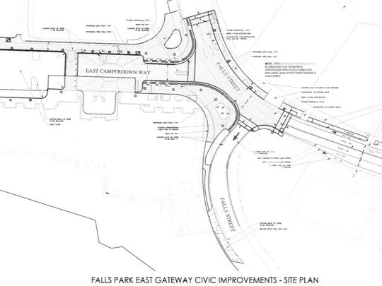 A drawing of public improvements associated with the Grand Bohemian hotel, including a new curb on Falls Street to calm traffic.