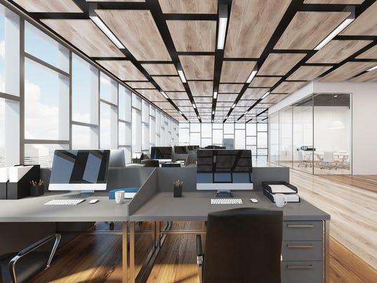 Wooden floor open space office, closeup