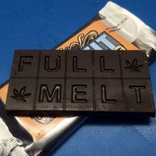 This marijuana-infused chocolate bar sold in Colorado is scored into 10 pieces, indicating that each square contains a single serving size of 10 mg of THC, the active competent of pot.