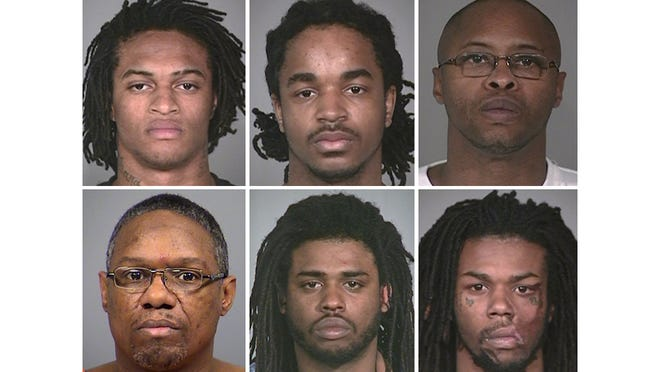 """The six suspects convicted in the November 2012 murder of local rapper Thomas """"DJ"""" Keys are Dominique Hamler (clockwise from top left), Donte Robinson, Carlton Hart, Nathaniel Armstrong, James McDuffy and Darin Jackson."""