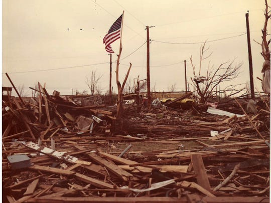 Contributed photo of the damage that was caused on Terrible Tuesday, April 10, 1979.