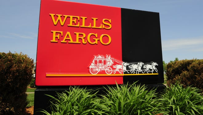 A sign for Wells Fargo banks in Woodbury, Minnesota.