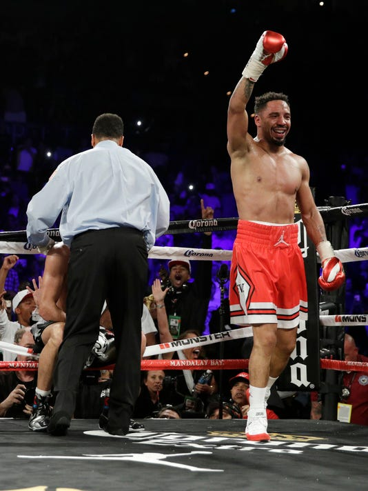 Andre Ward celebrates after defeating Sergey Kovalev during a light heavyweight championship boxing match Saturday, June 17, 2017, in Las Vegas. (AP Photo/John Locher)