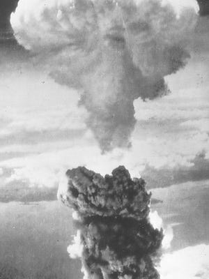 This is the original photo of the Army Air Corps' picture of the Nagasaki atomic bomb on Aug. 9, 1945.