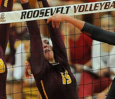 Washington's Isabel Kinzer bumps the ball against Roosevelt during their game at Roosevelt High School on Thursday, September 3, 2015.