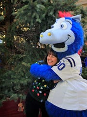 First Lady Karen Pence gets a big hug from Colts mascot