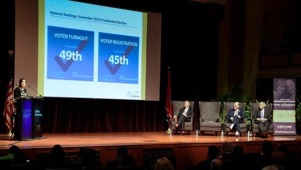 ThinkTennessee President Shanna Hughey addresses the