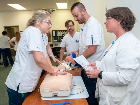 Nursing students at a July training session as part