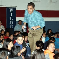 Matthew Gollub, a California author, musician and performer, visited local elementary schools and Deming Intermediate School as part of the seventh annual Literacy Showcase this week. Gollub was also the guest speaker at Tuesday's awards ceremony at the Mimbres Valley Special Events Center.