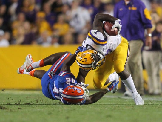 LSU running back Leonard Fournette, right, was one