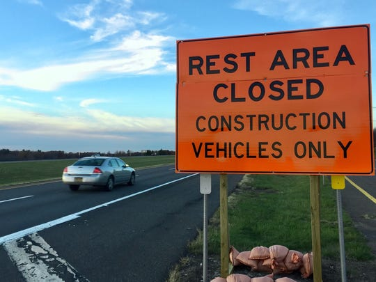 An access road is closed off in 2016 while DOT demolished a rest area on I-90 in Schodack, Rensselaer County, to make way for an I Love NY Welcome Center. The center was ultimately moved south instead.