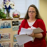Rowan County Clerk Kim Davis was back to work in her office Monday morning at the Rowan County Courthouse in Morehead. (September 14, 2015)
