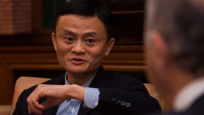 Alibaba Group founder and Executive Chairman Jack Ma meets with French foreign minister Laurent Fabius at the residence of the French consul in Shanghai last week.