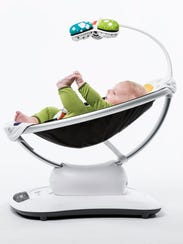 The 4moms mamaRoo infant seat can rock or sway a baby