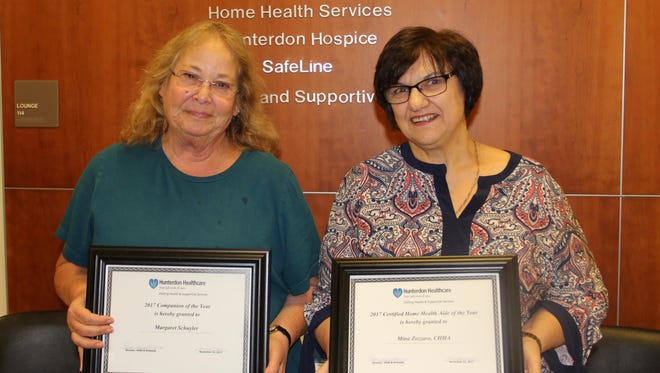 Margaret Schuyler (left), Companion of the Year, and Mina Zozzaro, Certified Home Health Aide of the Year.