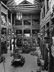 This historic photo shows the double helix staircase that was original to the Many Glacier Hotel. The staircase was removed in the 1950s but will be restored to the hotel beginning this year.