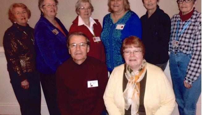 The Palmyra Garden Club is made up of the following: front row, from - left Richard Bell, 1st Vice President, Cathy Weiland, President; back row, from left - Shirley Sternberger, Advisor/Parliamentarian, Heide Neiswender, Advisor/Parliamentarian, Maddie Reed, 2nd Vice President, Carol Ciortan, Recording Secretary, Doris Graeff, Corresponding Secretary and Joanne Wendte, Treasurer.
